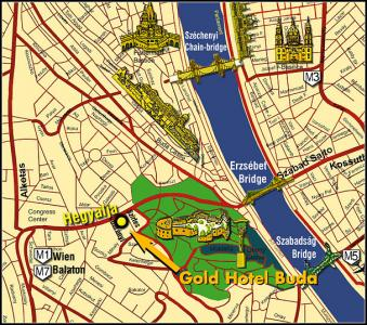 Gold Hotel  Wine & Dine Budapest Map - Gold Hotel**** Budapest - Hotel at the bottom of the Gellert Hill in Budapest