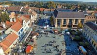 3-star hotel in Koszeg, Hungary - panoramic view at the main square from the terrace of Hotel Irottko