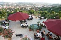 Terrace with panoramic view to the Mecsek Mountain in Hotel Kikelet Pecs