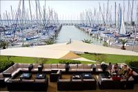 Panoramic view to Lake Balaton and the yacht port in Hotel Marina Port