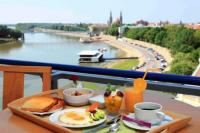 Panoramic view to river Tisza from the window of Novotel Szeged